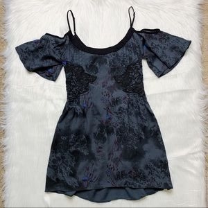 Free People Blue Cold Shoulder Floral Mini Dress